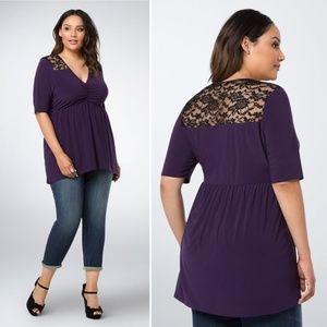 Torrid Purple Lace Inset Babydoll Top Size 3X